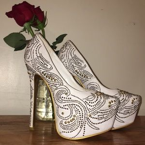 SHOW STOPPING bedazzled white heels!